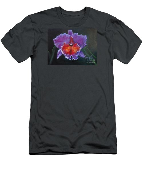 Men's T-Shirt (Slim Fit) featuring the painting Lavender Orchid by Jenny Lee