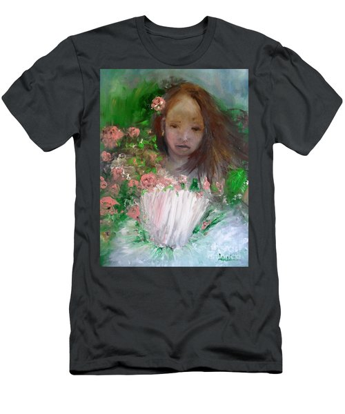 Men's T-Shirt (Athletic Fit) featuring the painting Mary Rosa by Laurie Lundquist