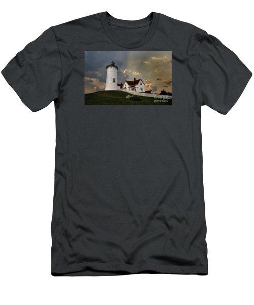 Nobska Lighthouse Color  Men's T-Shirt (Athletic Fit)
