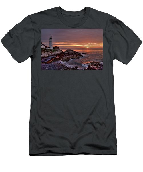 Men's T-Shirt (Slim Fit) featuring the photograph Portland Head Lighthouse Sunrise by Alana Ranney