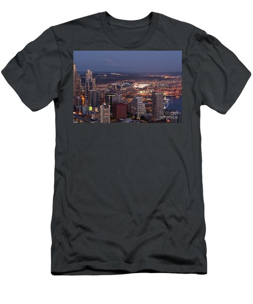 Seattle Skyline With Mount Rainier And Downtown City Lights Men's T-Shirt (Athletic Fit)