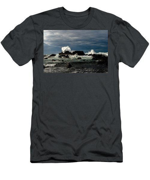 Stormy Seas And Spray Under Dark Skies  Men's T-Shirt (Athletic Fit)