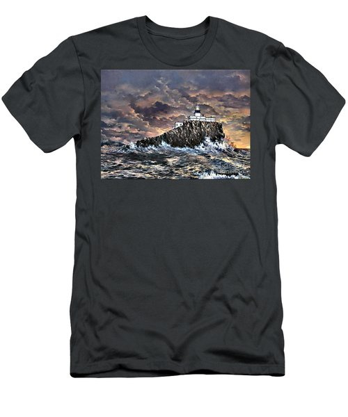 Men's T-Shirt (Slim Fit) featuring the painting Tillamook Rock Light by Lynne Wright