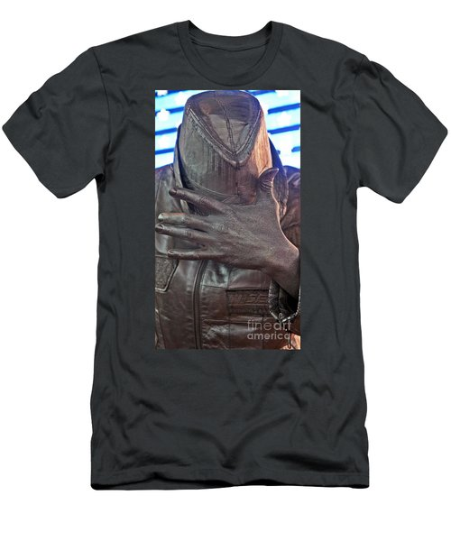 Men's T-Shirt (Slim Fit) featuring the photograph Tin Man In Times Square by Lilliana Mendez