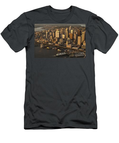 Aerial View Of Seattle Skyline Along Waterfront Men's T-Shirt (Athletic Fit)