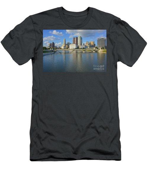 Fx1l-802 Columbus Ohio Skyline Photo Men's T-Shirt (Athletic Fit)