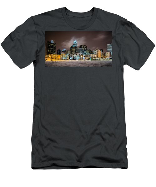 Charlotte Queen City Skyline Near Romare Bearden Park In Winter Snow Men's T-Shirt (Athletic Fit)