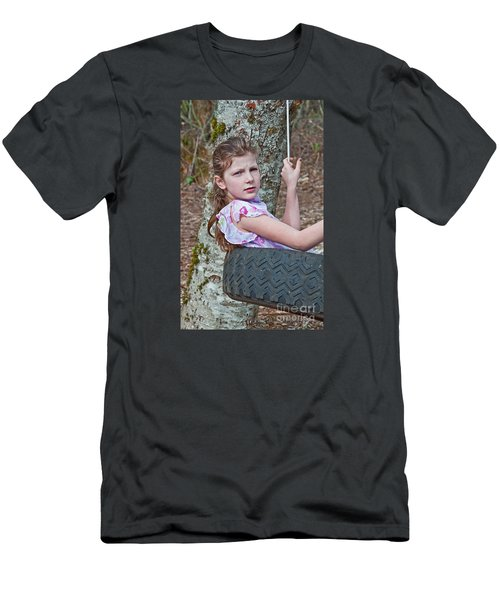 9 Year Old Caucasian Girl In Tire Swing Men's T-Shirt (Athletic Fit)