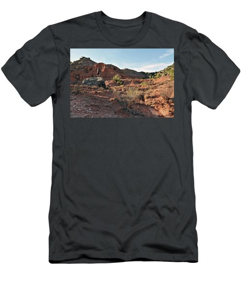 A Backpacker Looks Over The Desert Men's T-Shirt (Athletic Fit)