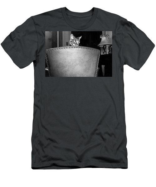 A Cat Peers Over A Chair Men's T-Shirt (Athletic Fit)