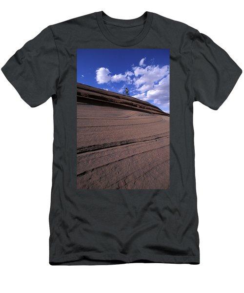 A Female Mountain Biker Mountain Biking Men's T-Shirt (Athletic Fit)