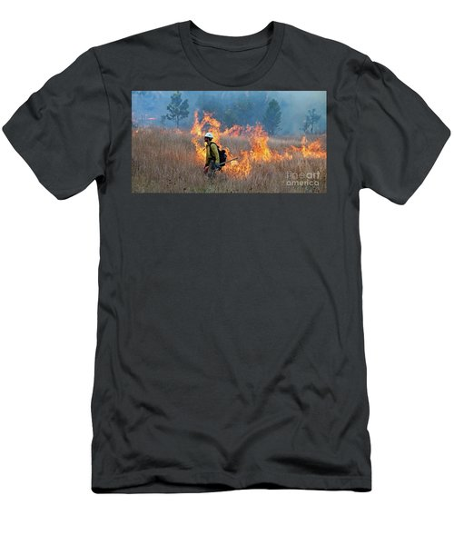 A Firefighter Ignites The Norbeck Prescribed Fire. Men's T-Shirt (Athletic Fit)