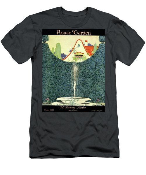 A Fountain With A Hedge In The Background Men's T-Shirt (Athletic Fit)