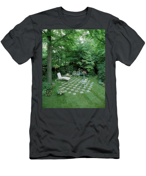 A Garden With Checkered Pavement Men's T-Shirt (Athletic Fit)