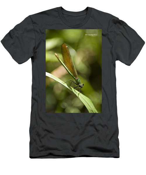 Men's T-Shirt (Athletic Fit) featuring the photograph A Green Dragonfly by Stwayne Keubrick