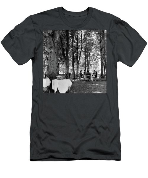 A Group Of People Eating Lunch Under Trees Men's T-Shirt (Athletic Fit)