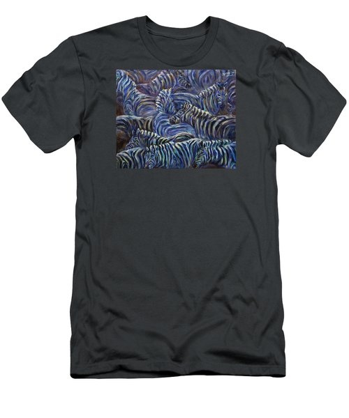 Men's T-Shirt (Slim Fit) featuring the painting A Group Of Zebras by Xueling Zou
