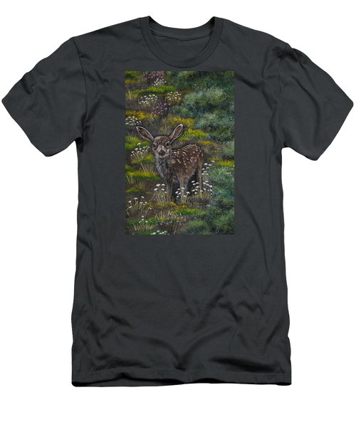 Men's T-Shirt (Slim Fit) featuring the painting A Happy Fawn by Jennifer Lake