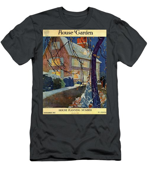 A House And Garden Cover Of A House In Winter Men's T-Shirt (Athletic Fit)