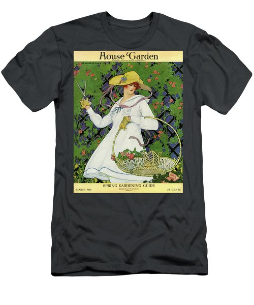 A House And Garden Cover Of A Woman Gardening Men's T-Shirt (Athletic Fit)