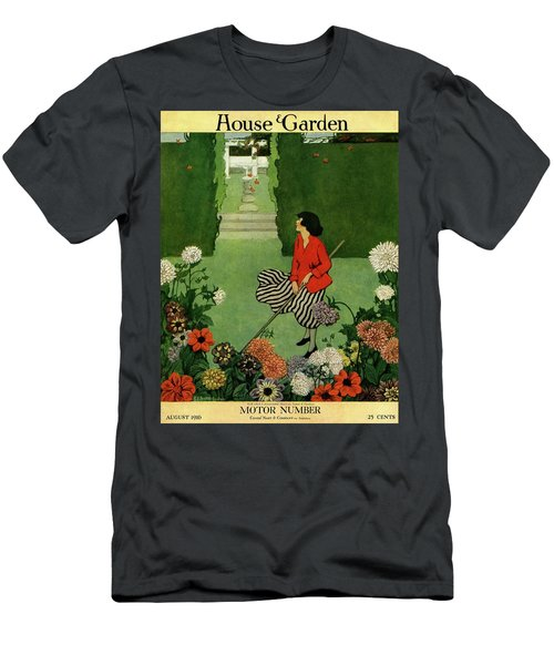 A House And Garden Cover Of A Woman Raking Leaves Men's T-Shirt (Athletic Fit)