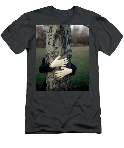 A Model Hugging A Tree Men's T-Shirt (Athletic Fit)