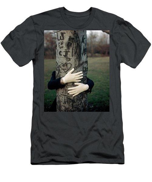 A Model Hugging A Tree Men's T-Shirt (Athletic Fit)