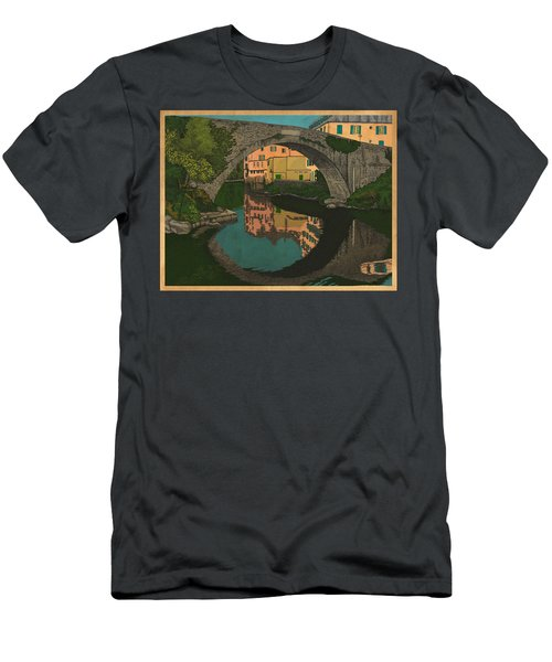 Men's T-Shirt (Slim Fit) featuring the drawing A River by Meg Shearer