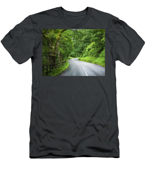 A Road Lined With Lush Trees Men's T-Shirt (Athletic Fit)
