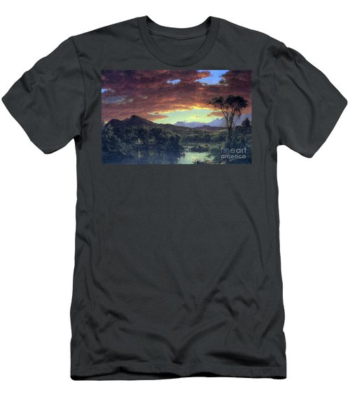 A Rural Home By Frederick Edwin Church Men's T-Shirt (Athletic Fit)