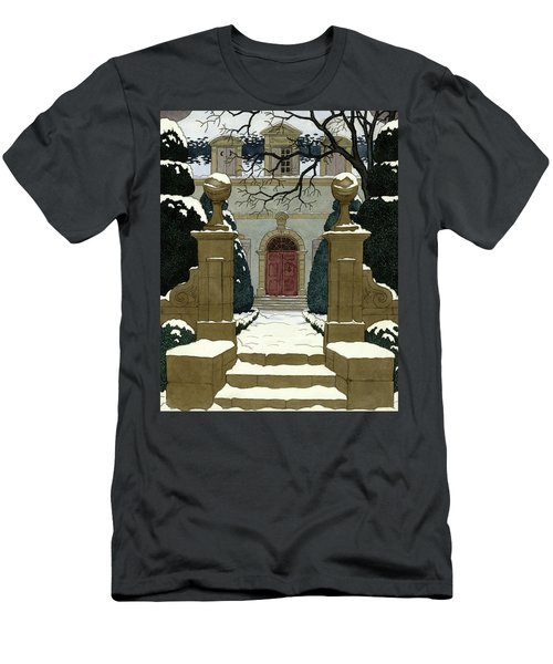 A Snow Covered Pathway Leading To A Mansion Men's T-Shirt (Athletic Fit)