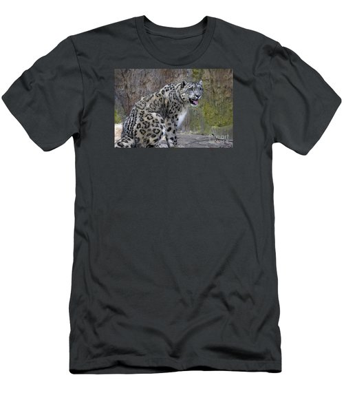 Men's T-Shirt (Slim Fit) featuring the photograph A Snow Leopards Tongue by David Millenheft