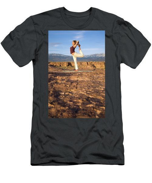 A Woman Practicing Yoga On A Dry Lake Men's T-Shirt (Athletic Fit)