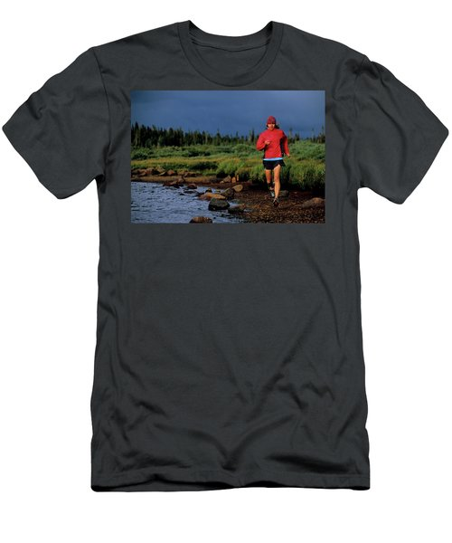 A Woman Trail Runs At Brainard Lake Men's T-Shirt (Athletic Fit)
