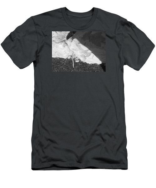 Men's T-Shirt (Slim Fit) featuring the photograph Abstract Of Rock And Shadow by Esther Newman-Cohen