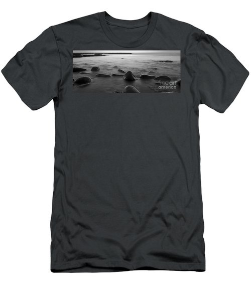 Acadia National Park Shoreline Sunrise Wakeup Black And White Men's T-Shirt (Athletic Fit)