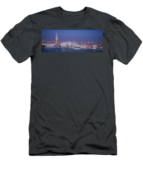 Aerial View Of A City Along A Canal Men's T-Shirt (Athletic Fit)
