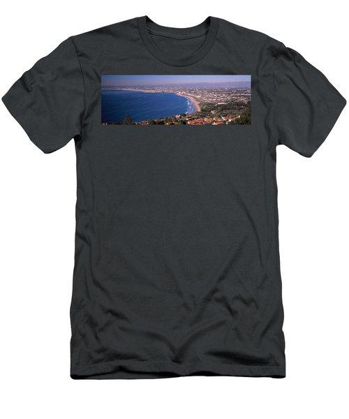 Aerial View Of A City At Coast, Santa Men's T-Shirt (Athletic Fit)