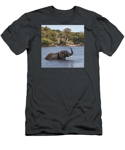 Men's T-Shirt (Slim Fit) featuring the photograph African Elephant In Chobe River  by Liz Leyden