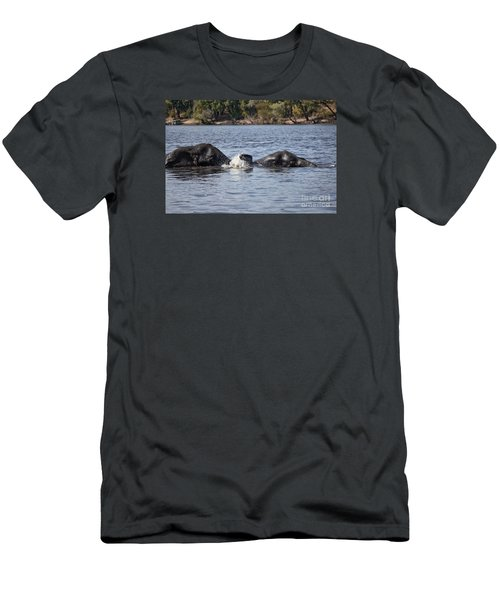 Men's T-Shirt (Slim Fit) featuring the photograph African Elephants Swimming In The Chobe River Botswana by Liz Leyden