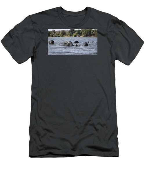 Men's T-Shirt (Slim Fit) featuring the photograph African Elephants Swimming In The Chobe River by Liz Leyden
