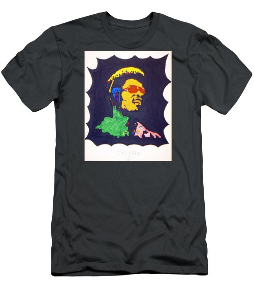 Men's T-Shirt (Slim Fit) featuring the painting Afro Stevie Wonder by Stormm Bradshaw