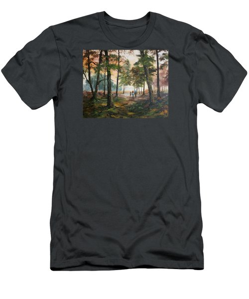 Men's T-Shirt (Slim Fit) featuring the painting Afternoon Ride Through The Forest by Jean Walker