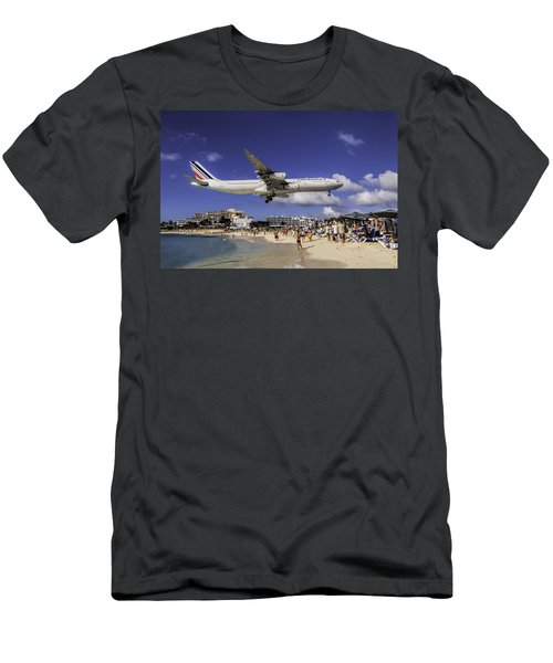 Air France St. Maarten Landing Men's T-Shirt (Slim Fit) by David Gleeson