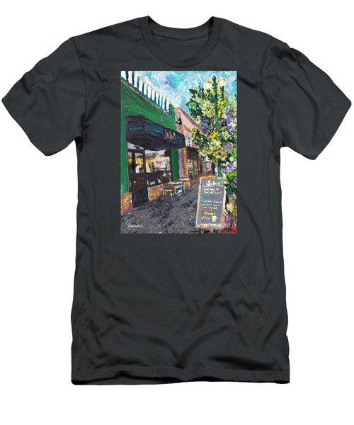 Alameda Julie's Coffee N Tea Garden Men's T-Shirt (Slim Fit) by Linda Weinstock