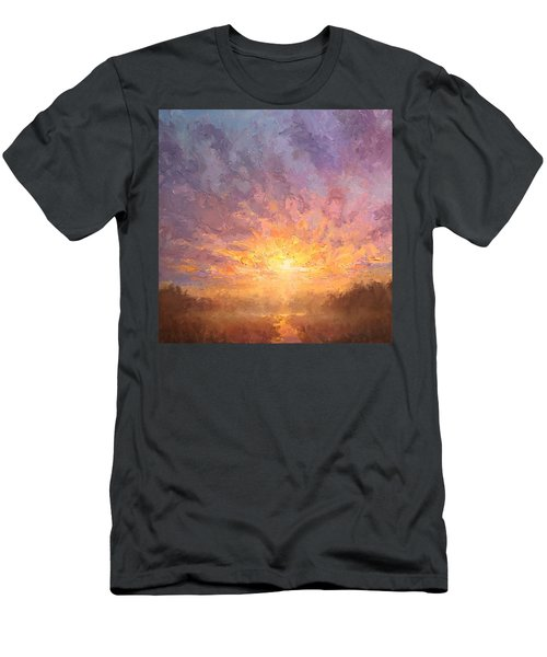 Impressionistic Sunrise Landscape Painting Men's T-Shirt (Slim Fit) by Karen Whitworth