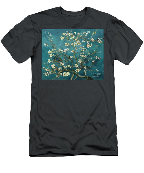 Men's T-Shirt (Slim Fit) featuring the painting Almond Blossoms' Reproduction by Tim Gilliland