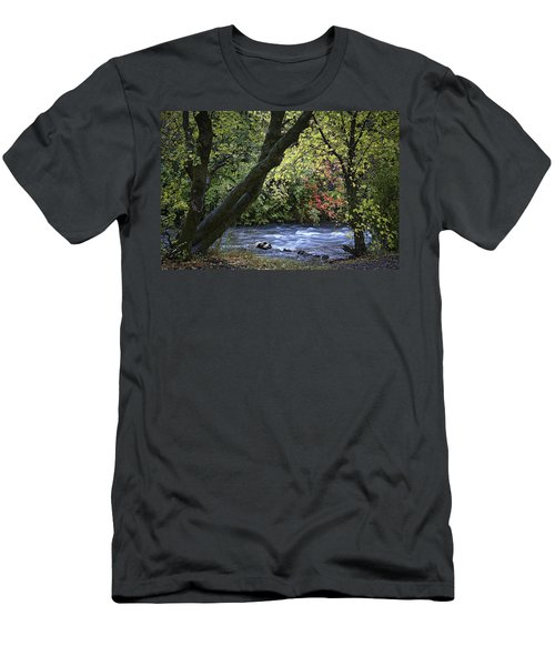 Men's T-Shirt (Slim Fit) featuring the photograph Along Swift Waters by Priscilla Burgers