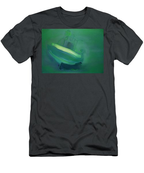 Men's T-Shirt (Slim Fit) featuring the painting Alvor Working Boat  by Charles Stuart