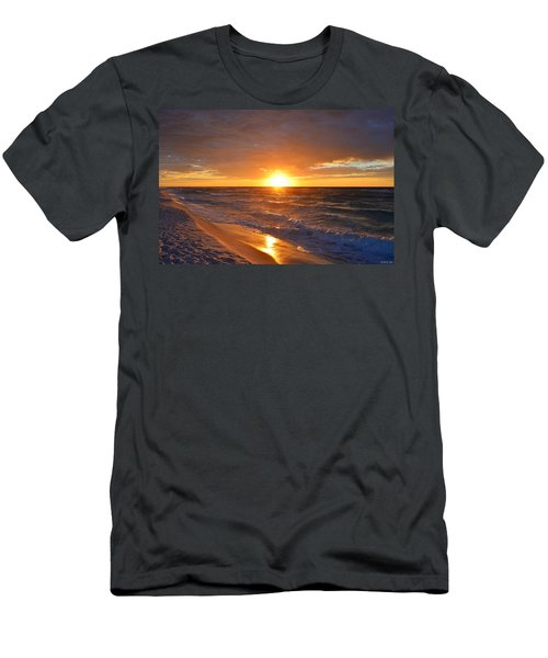 Amazing Sunrise Colors And Waves On Navarre Beach Men's T-Shirt (Slim Fit) by Jeff at JSJ Photography